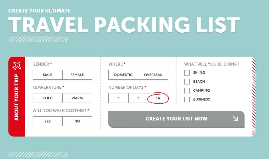 Click Here To Use The Ultimate Travel Packing List